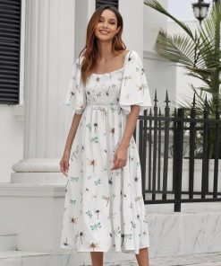 Weißes Hippie Kleid in mittlerer Länge