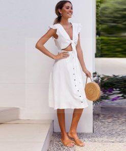 Weißes fließendes Hippie Kleid
